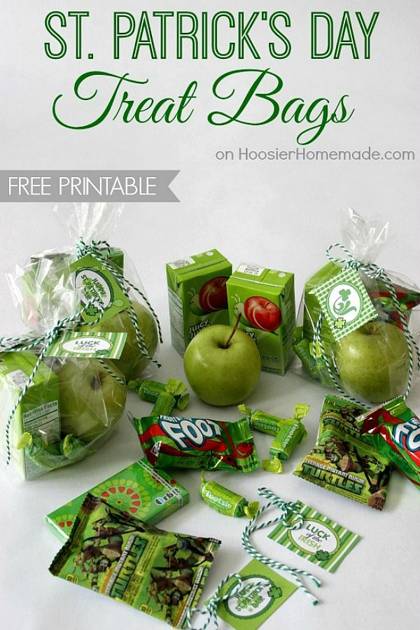 Surprise the kids with a fun St. Patrick's Day Treat Bag! It's filled with everything GREEN! And there is a FREE St. Patrick's Day Printable too!
