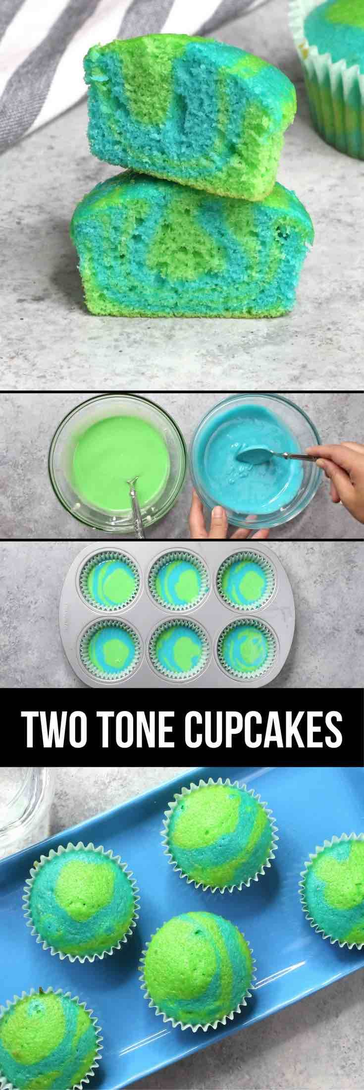 Earth Day Cupcakes – An easy and fun recipe to help celebrate Earth Day! These green and blue earth day cupcakes taste amazing and super cute! Great for a weekend party! All you need is a few simple ingredients: cake mix, egg, oil, green and blue food coloring. So beautiful! Quick and easy, holiday recipe, party food. Video recipe. | Tipbuzz.com