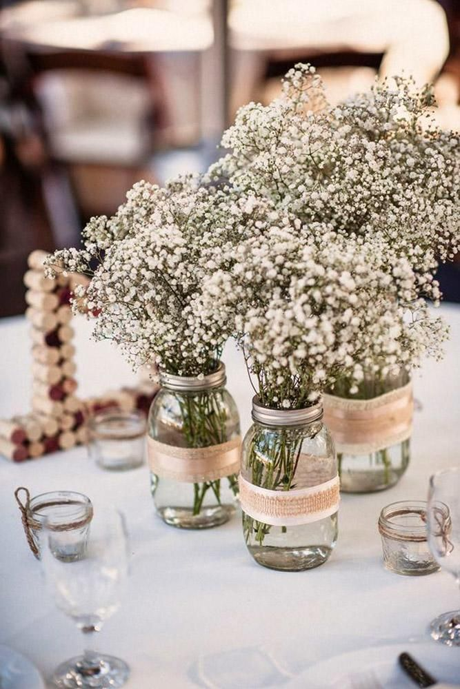 42 Rustic Wedding Centerpieces Fancy Ideas Wedding Forward Wedding Centerpieces Mason Jars Cheap Wedding Decorations Babys Breath Centerpiece Wedding