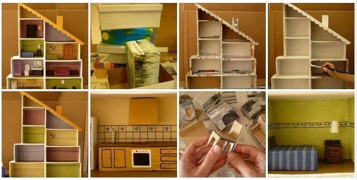 Casa de mu ecas con cajas de zapatos vir manualidades - Manualidades con cajas de zapatos ...