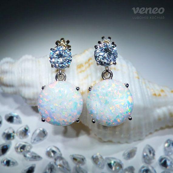Selene. Silver or Gold White Opal and Zircon Earrings all by Veneo, $118.00