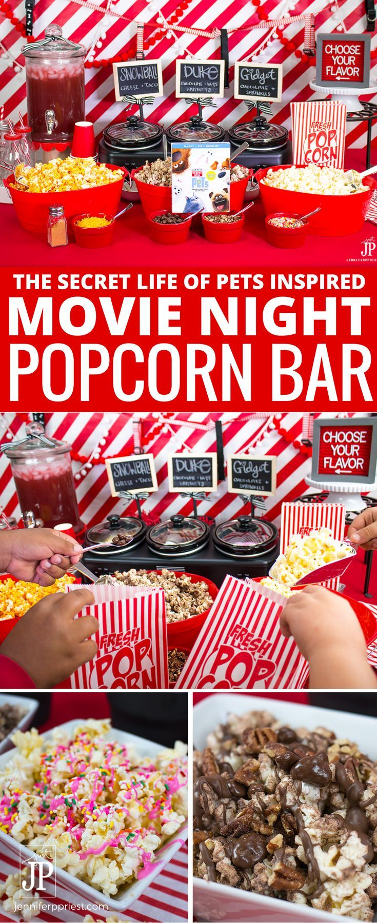 DIY Popcorn Bar: To celebrate that The Secret Life of Pets is now on Blu-ray and DVD, we created a DIY popcorn bar with flavors inspired by the movie's characters. Get the recipe to create THREE The Secret Life of Pets inspired popcorn mixes for your next movie night AND see how to set up a DIY Popcorn Bar.