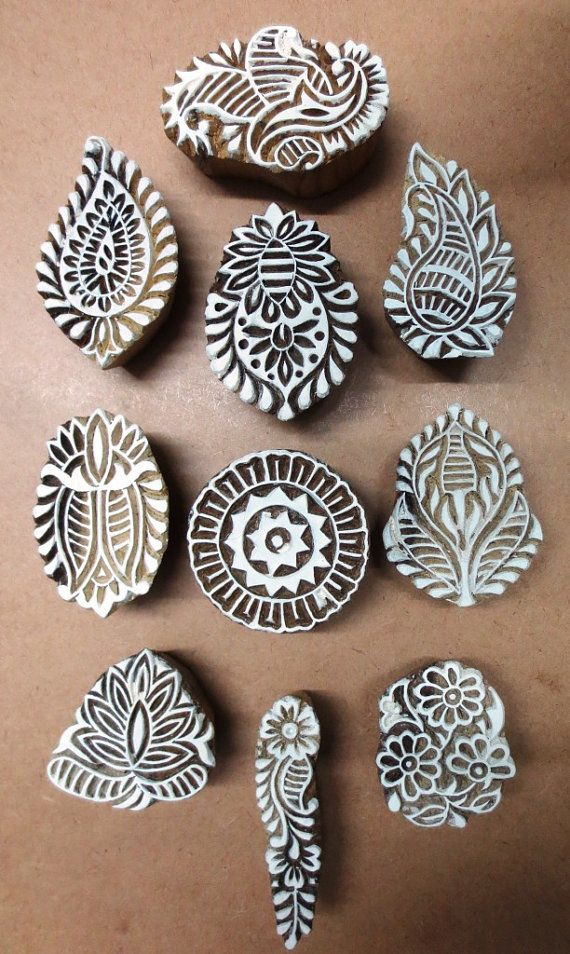 set of 10 indian wooden textile printing on by heritagecollectible, $35.00