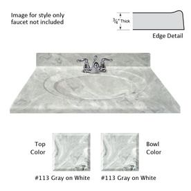 Us Marble Recessed Oval Gray On White Cultured Marble Integral Bathroom Vanity Top (Common: 49-In X 22-In; Actual: 49-In