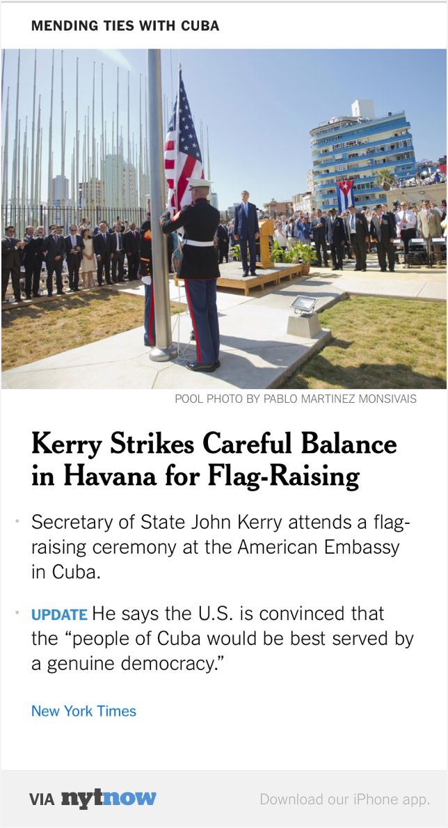 NYT Now: Kerry Strikes Delicate Balance in Havana Trip for Embassy Flag-Raising  http://nyti.ms/1Woqicq