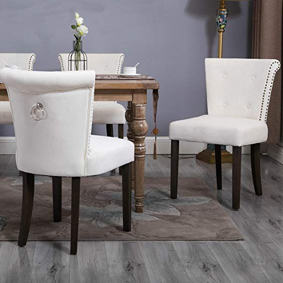 Amazon Com Flieks Dining Chairs Upholstered Tufted Parsons Chair Modern Accent Chairs With Nailh Upholstered Dining Chairs Dining Room Decor Dining Chair Set