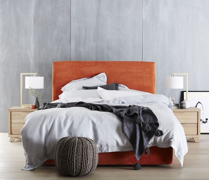 Orange is the new black. Make a bold statement with the Azure Bed Head in Mango. Finished with fabric, the Azure presents as an elegant bed head that sets the tone for your bedroom space.  Pictured with the Marvin Bedside Tables. Base sold separately.