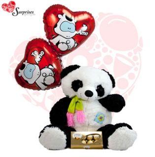 Oso Panda de Lujo.  Muchas veces no sabemos cuál es el regalos ideal y con este hermoso REGALO encontraras la manera perfecta de decir ¡FELICIDADES! Estamos para servirte www.surprisesbogo... tel: 4380157 Cel: 3123750098