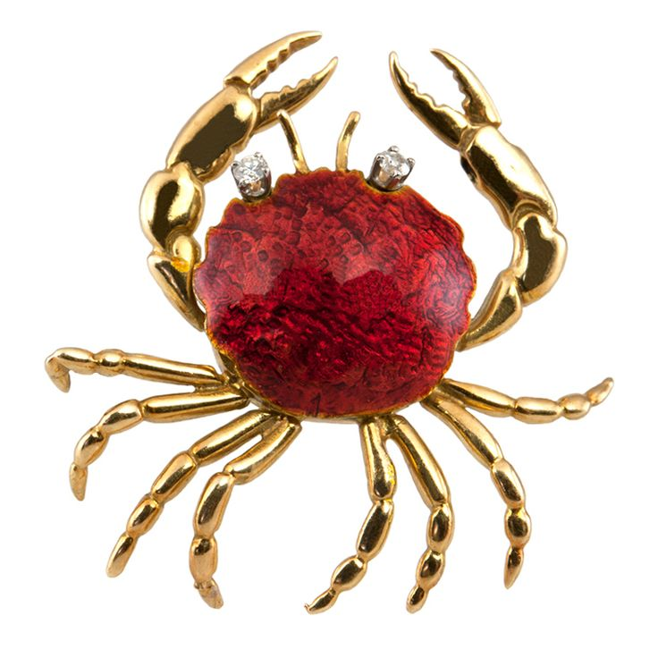 CARTIER Crab Brooch USA 20TH century This Brooch is 18K gold, with reddish enamel and diamond eyes,and is signed CARTIER.