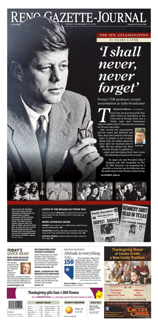 Nevada. | How Newspapers From All 50 States Remembered The Kennedy Assassination