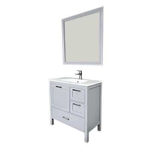 Siena 36 Vanity w/ Solid Doors & Glass Sink (Grey), Size Single Vanities