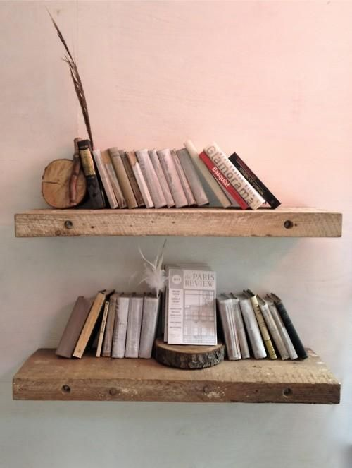 raw chunky wooden shelves to hang on each side of tvfireplace
