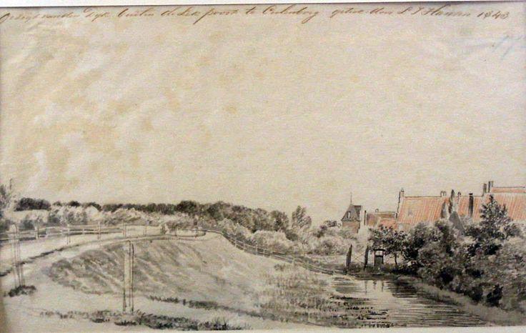 1843-Aquarel, gezicht op de Grote Buitenom met de Slotpoort te Culemborg, door L.J. Hansen