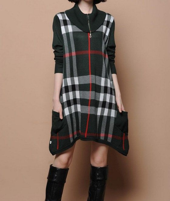 Army Green Plaid Sweater Dress   This dress is so cute and school-girlish. <3 <3
