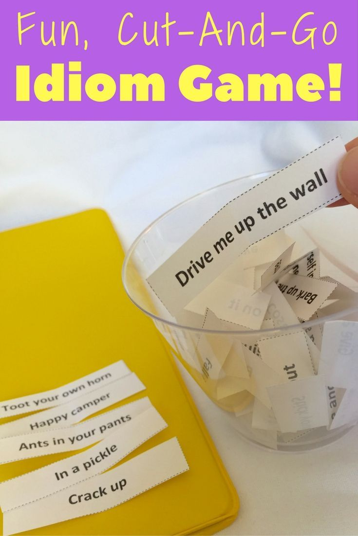 Cut-and-go idioms figurative language game for middle school! Your kids will love playing in groups, giving clues, and guessing the idioms...and they'll be learning new idioms in the process!