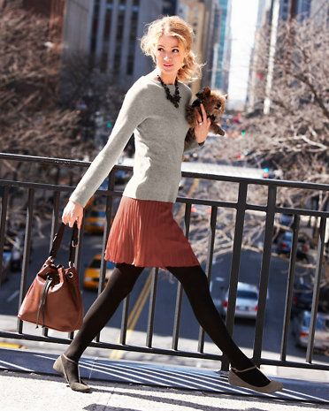 Classic Ribbed Cashmere Sweater & Short Pleated Skirt - Garnet Hill #teacher
