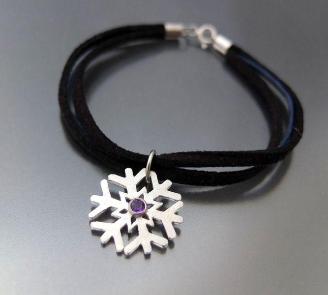 """BIZOE silver 925 snowflake with amethyst - srebrna bransoletka """"ŚNIEŻYNKA"""" z ametystem w BIZOE na DaWanda.com"""