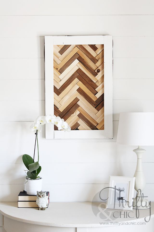 DIY Herringbone Pattern Wall Art using wood shims I'm thinking maybe making larger and using as headboard