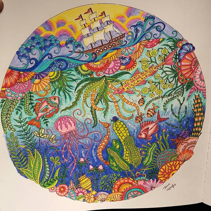 76 Best Lost Ocean Coloring Book Completed Pages Inspiration Images On Pinterest
