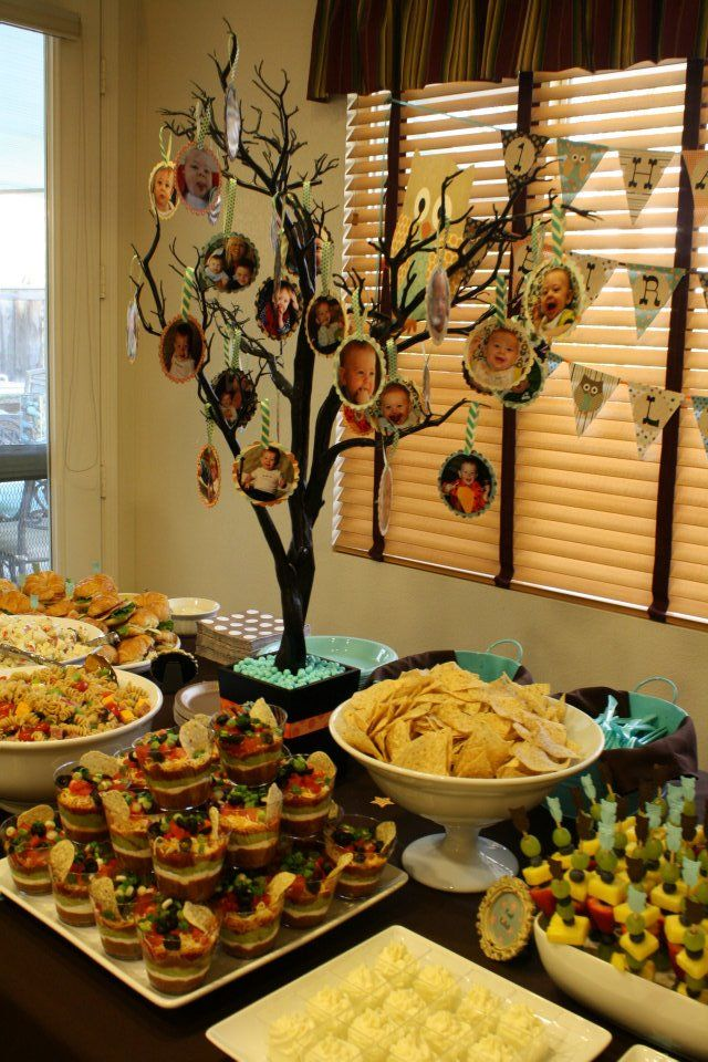 Food table with picture tree centerpiece - love for Shabbat dinner with family!