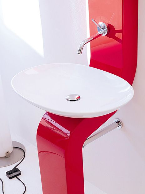 #Artceram #Jazz #Washbasin #Red - with built in vanity storage shelving, from reevolve.co.za