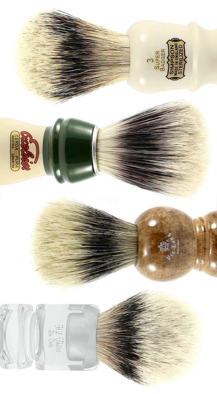 Top to bottom: shaving brushes from Simpsons, Semogue, Vie-Long, and H.L. Thater