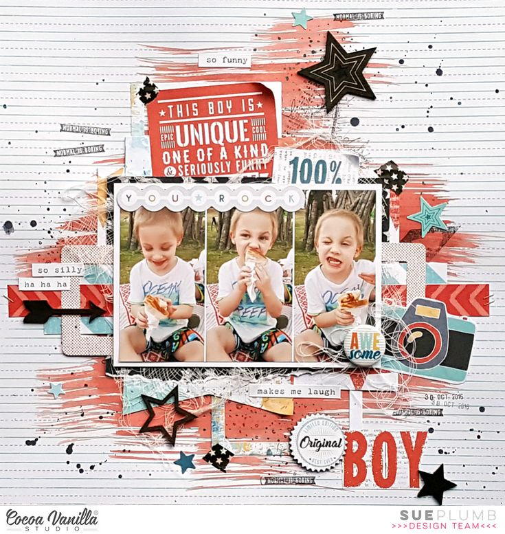 Hi everyone! Sue Plumb here to share my latest design team project with you all. This week we have been celebrating the boys on our blog, with the design team sharing masculine themed projects to inspire you. So today it's my turn, and I have a layout featuring the new 'You Rock' collection and a