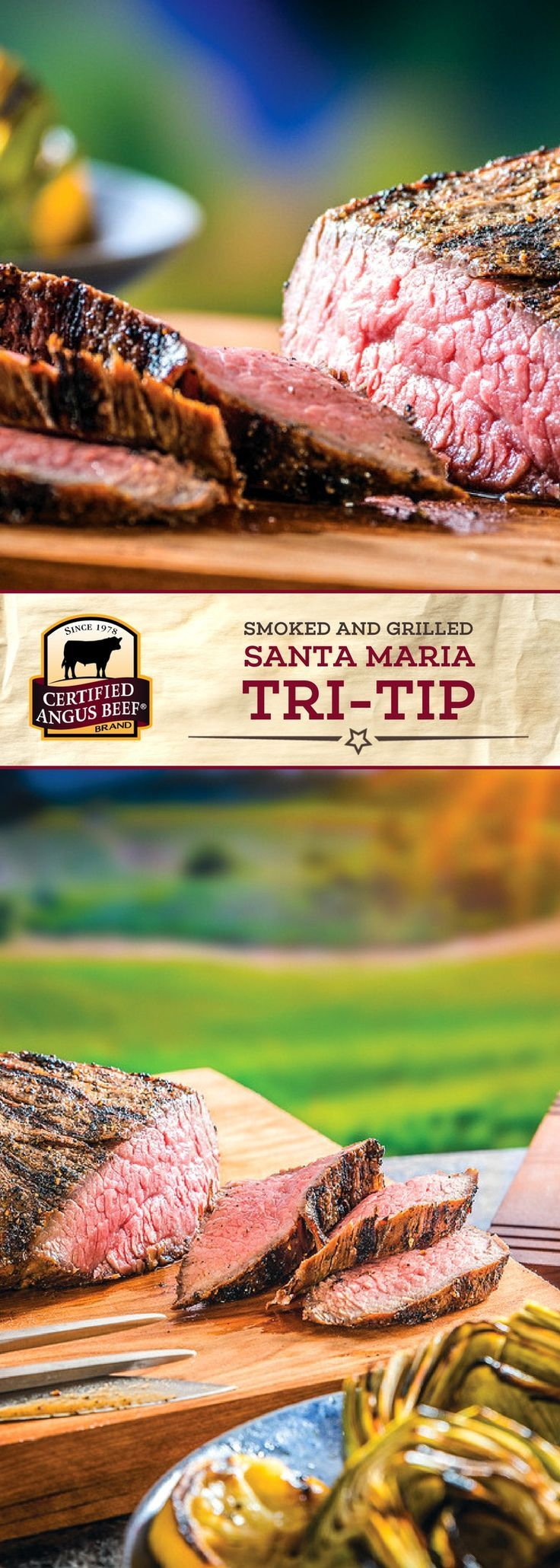 Certified Angus Beef®️️️ brand Smoked and Grilled Santa Maria Tri-Tip, made with the BEST tri-tip roast, is made with a delicious rub and marinated overnight for intense flavor! The smoky, bold flavors of this roast will leave your mouth watering! #bestangusbeef #certifiedangusbeef #beefrecipe #roastrecipe