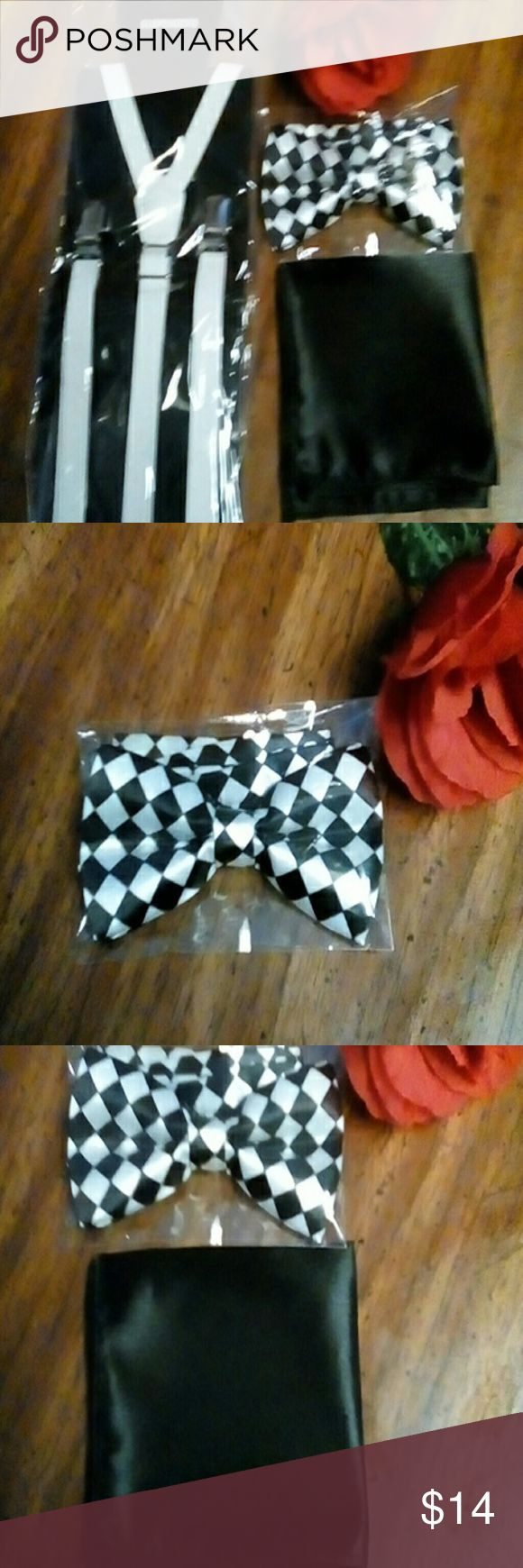 3-piece adult unisex suspender set Black and white three-piece unisex bow tie and suspenders set . black and white checkered bow tie, faux leather thin suspenders, and a black hanky. $14. New. Accessories Suspenders