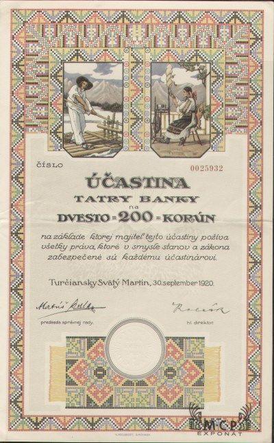 Muzeum cennych papiru  A0436 TATRA BANKA 1920