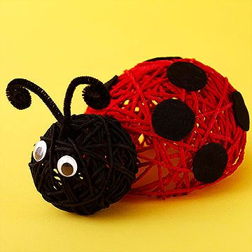 Get crafty -- and a little messy, too -- when you and your kids sculpt this adorable ladybug from red and black yarn.