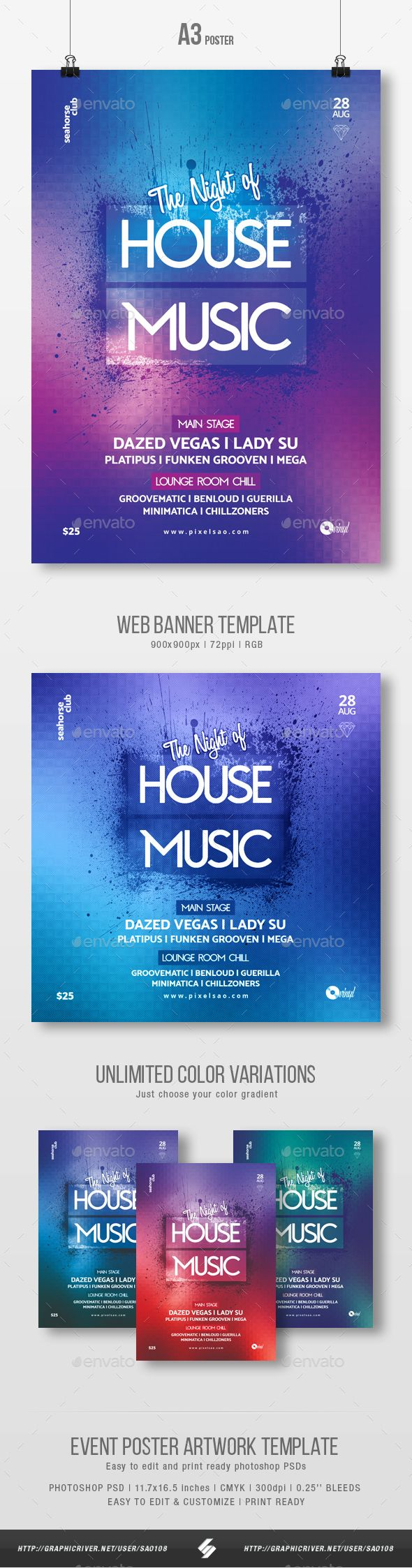 #House #Music #Party Flyer / Poster Template A3 - Clubs & Parties Events