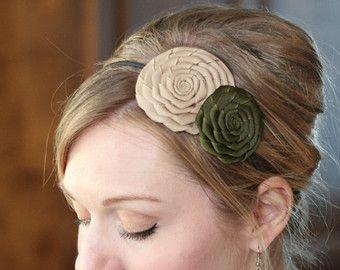 Olive Green Handmade Flower Hair Band Rosette by RufflesAndFringe