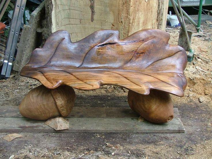 Andrew Frost - Wood Sculptor, Oak Leaf Seat 6' long Beech