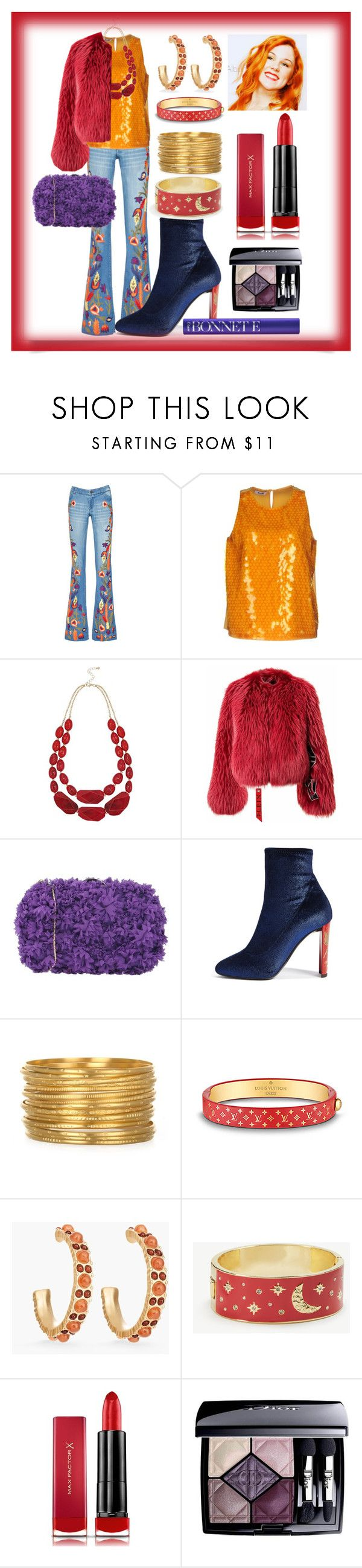 """She's Got Character"" by wildorchid21-1 ❤ liked on Polyvore featuring Alice + Olivia, Moschino Cheap & Chic, M&Co, Chiara P, Giuseppe Zanotti, Louis Vuitton, Chico's, Ann Taylor, Max Factor and Christian Dior"