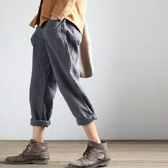 Linen trousers Van Cotton Casual Sen Haren Female Line Loose Pants