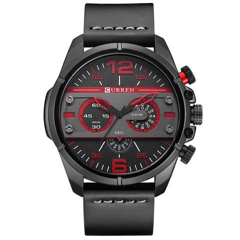 CURREN Watches Men Luxury Brand Army Military Watch Leather Sports Watches Quartz Men Waterproof Wristwatches Male Clock  Men's Watch Affordable Cheap Fashion Products Website Red