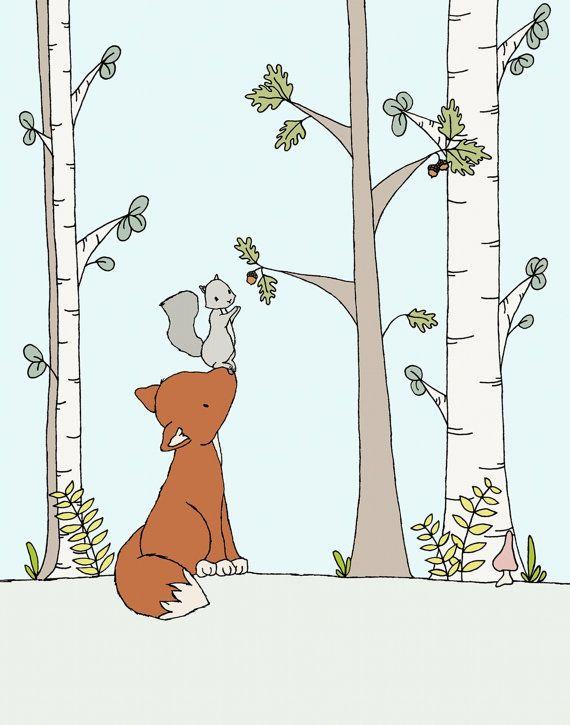 Woodland Nursery Art-Bushy-tailed Friends – Fox and Squirrel – Fox Nursery Art – Woodland Art Print – Kids Art – Kids Wall Art