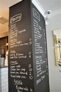 In-store chalkboard lists in-store events for customers.