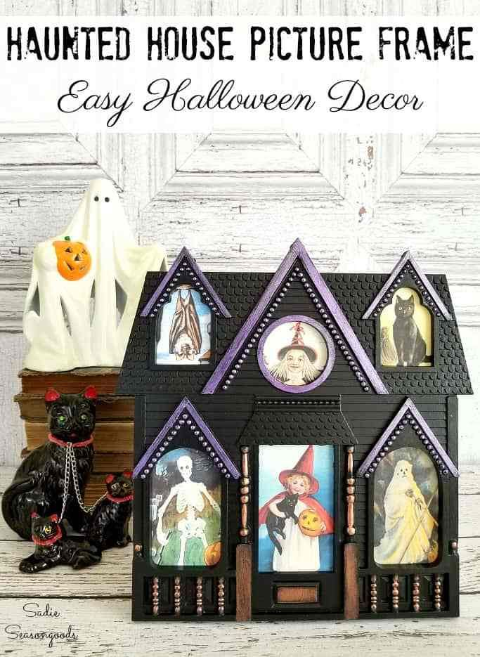 DIY Haunted House Decor with an Upcycled Picture Frame for Halloween ...