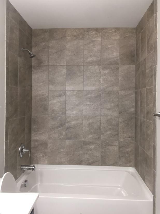 Avondale Castle Rock Tile Installed Vertical Stacked Shower Installation New
