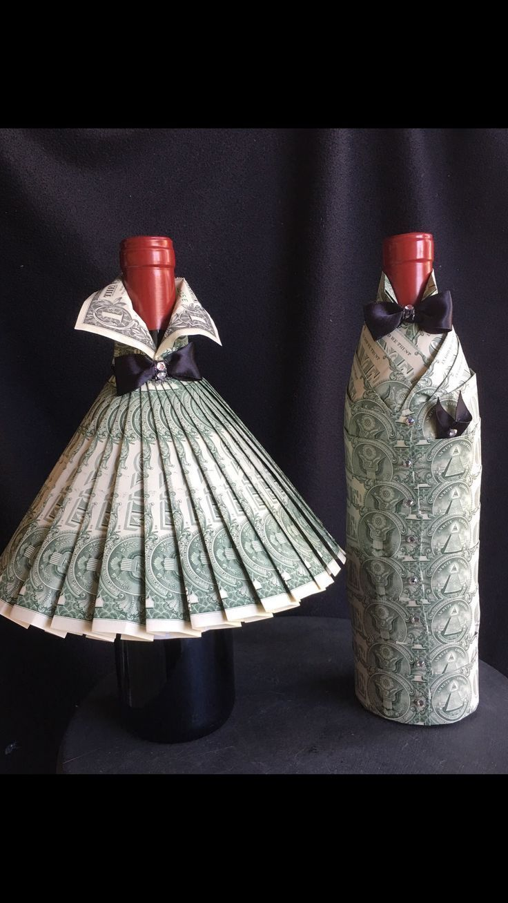Gift Wrapping Ideas-Flaschen Deco mit Dollar#gift #wrapping #giftwrap