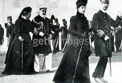 1896 Olympic Games. Athens, Greece. King George of Greece and Princess Alexandra walk in front of the Prince of Wales and Queen Olga