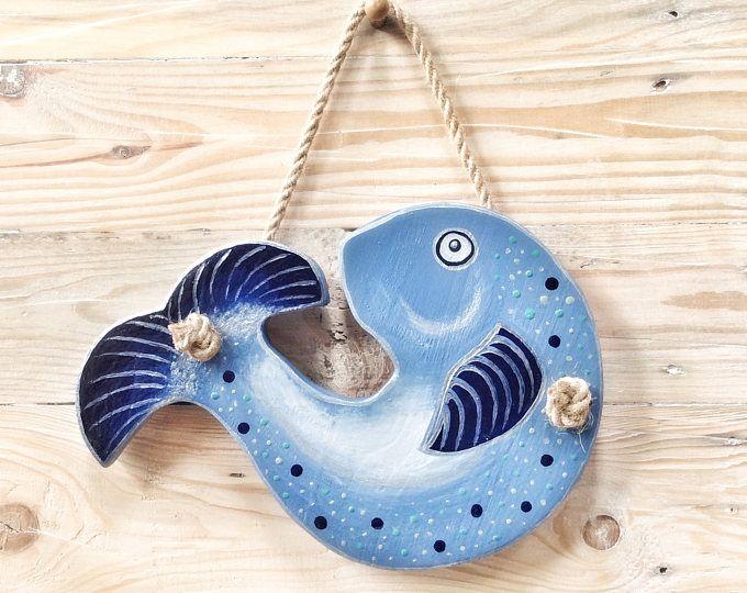 Pesci in legno blu | Arredo bagno | Decorazione della cucina | Regalo nautico | Attaccatura di parete di pesce | Decorazione della parete di pesce | Regalo nautico |