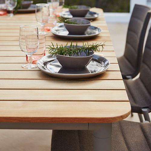 Core fra Cane-line er en lækker udendørsserie som passer ind i de fleste indretninger. Lækkert havebord i høj kvalitet. #Træmøbler #udendørsmøbler