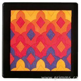 Mini magnetické puzzle lilie Marakéš včervených tónech, 57dílů