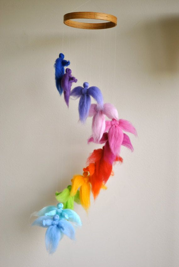 Children mobile Waldorf inspired needle felted : The rainbow colors fairies