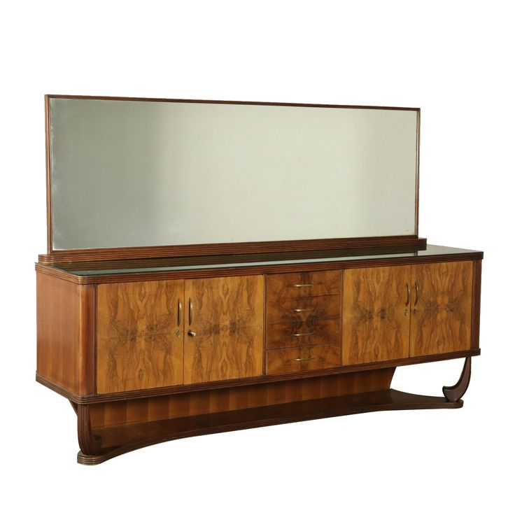 Buffet with Mirror Burl Veneer Glass Vintage Italy 1940s-1950s