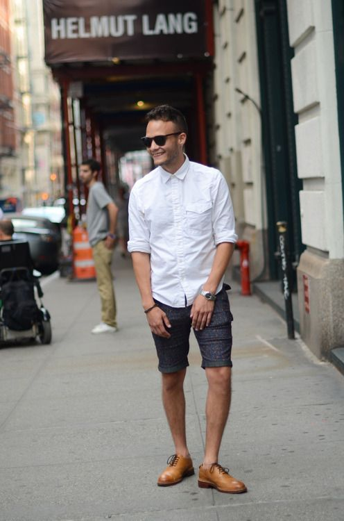 Shop this look for $112:  http://lookastic.com/men/looks/white-longsleeve-shirt-and-charcoal-print-shorts-and-walnut-leather-oxford-shoes/2477  — White Longsleeve Shirt  — Charcoal Print Shorts  — Walnut Leather Oxford Shoes