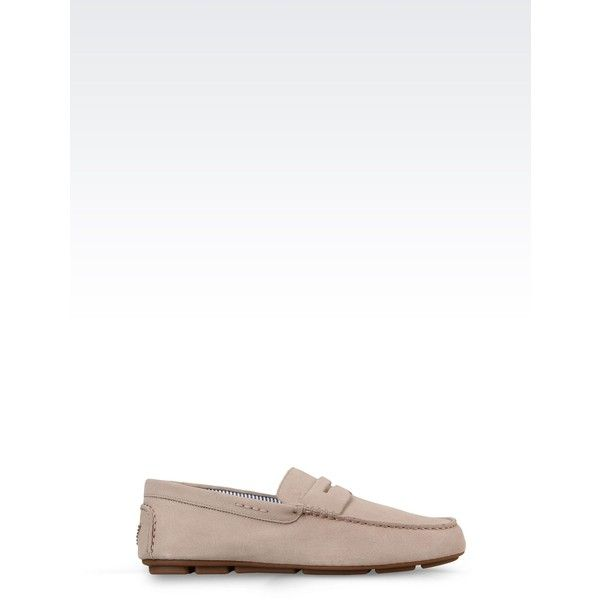 Armani Jeans Suede Loafer ($165) ❤ liked on Polyvore featuring men's fashion, men's shoes, men's loafers, beige, suede tassel loafers mens shoes, mens suede shoes, mens loafer shoes and mens round toe shoes